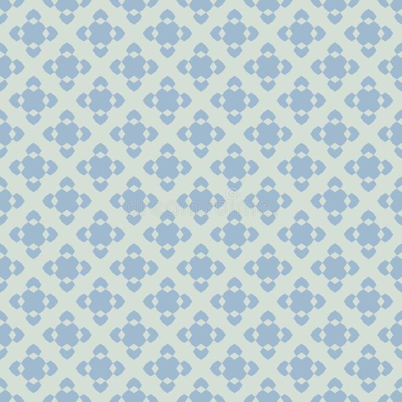 Wektorowy geometryczny kwiecisty bezszwowy wzór w retro roczników kolorach, błękicie i zieleni, ilustracja wektor