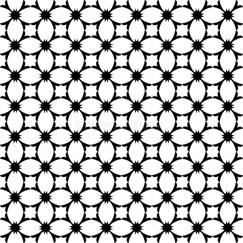 Wektorowy geometryczny kwiecisty wzór Czarny i biały bezszwowa tekstura ilustracji
