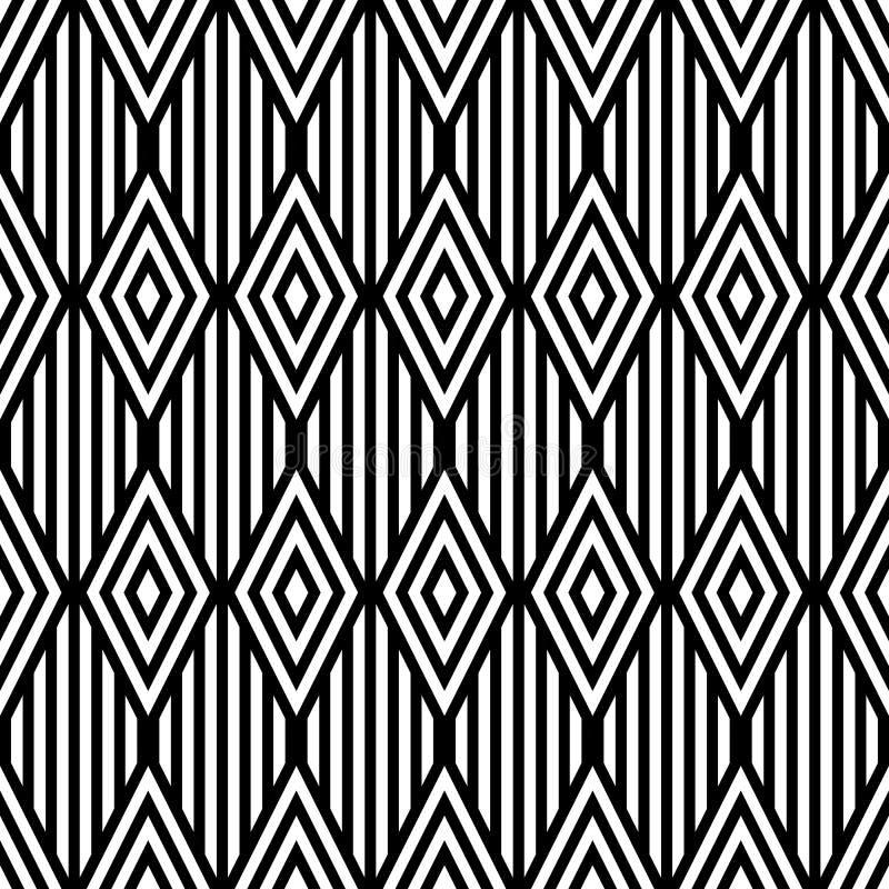 Wektorowy geometryczny monochromatyczny bezszwowy wzór royalty ilustracja