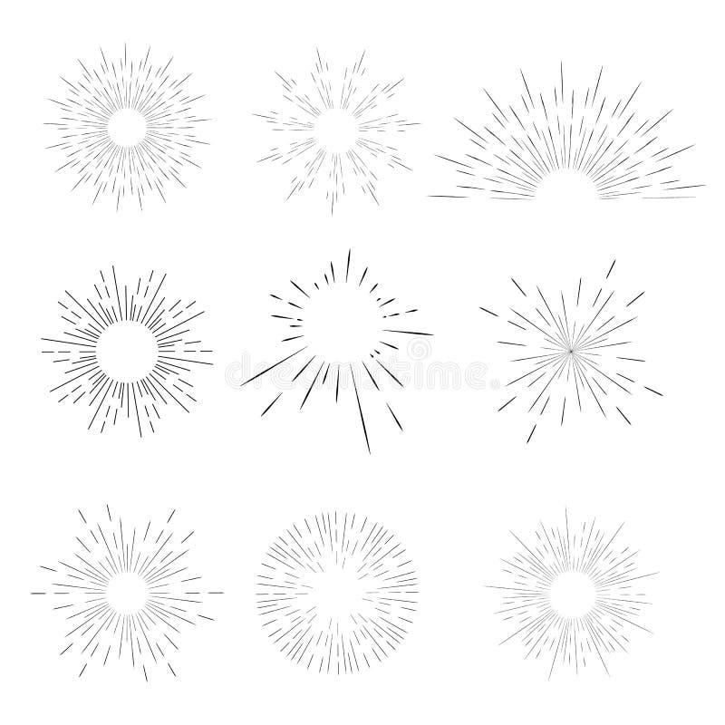 Wektorowy geometryczny promieniowy kreskowy sunburst promienie słońce lub gwiazdy, Błyszczymy, błyśniemy, Fajerwerki retro, roczn ilustracja wektor