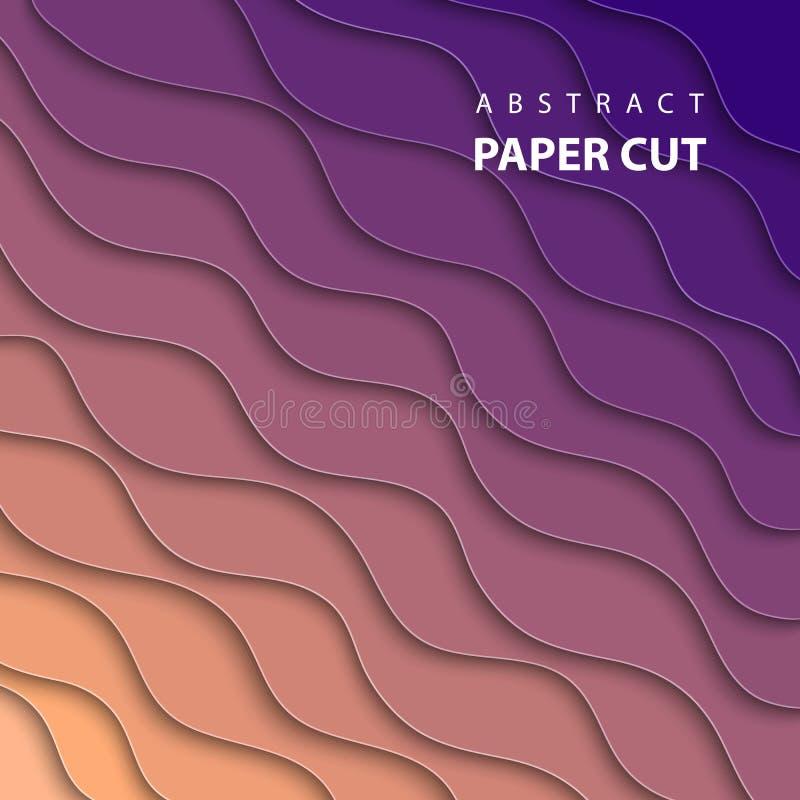 Wektorowy geometryczny tło z multicolor papieru cięciem kształtuje royalty ilustracja