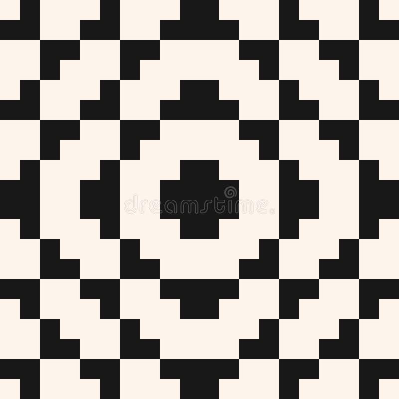 Wektorowy geometryczny tradycyjny ludowy ornament white bezszwowy czarny wzoru ilustracja wektor