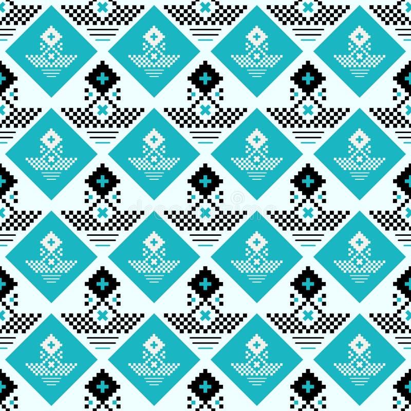 Wektorowy geometryczny tradycyjny Skandynawski ornament Prosty ornamentacyjny bezszwowy wzór Ludowy etniczny motyw Abstrakt ilustracji