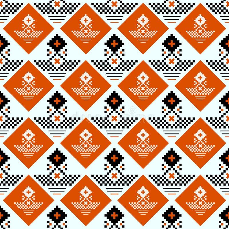 Wektorowy geometryczny tradycyjny Skandynawski ornament Prosty ornamentacyjny bezszwowy wzór Ludowy etniczny motyw Abstrakt ilustracja wektor