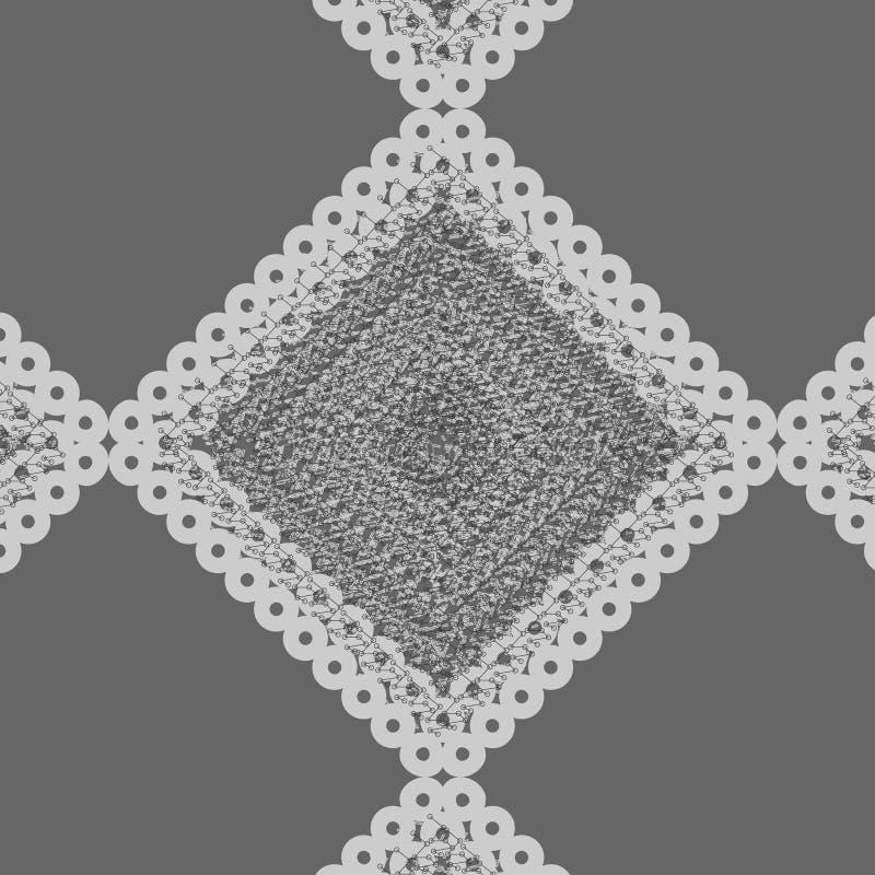 Wektorowy geometryczny wzór popielaty textured diament z koronkową krawędzią ilustracji