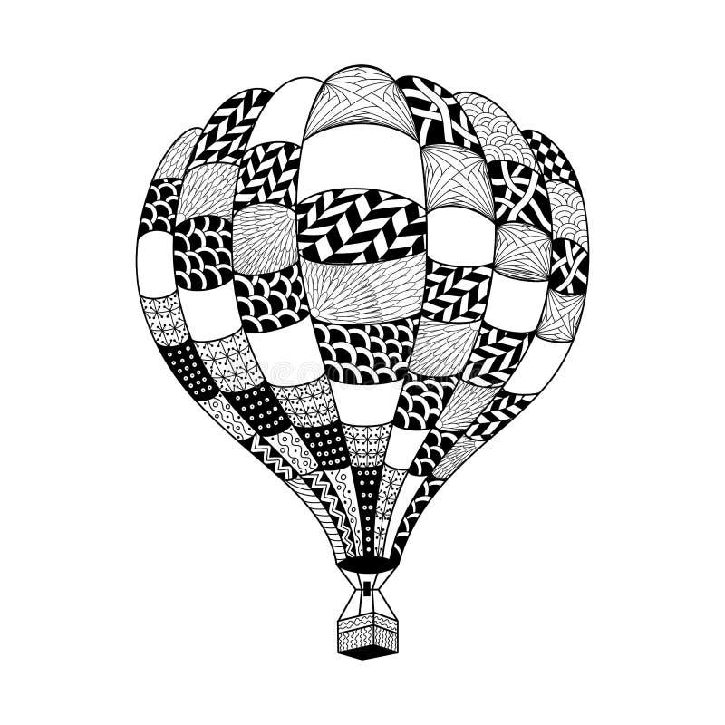 Wektorowy gorące powietrze balon w zentangle stylu Barwić strony książkę H ilustracja wektor