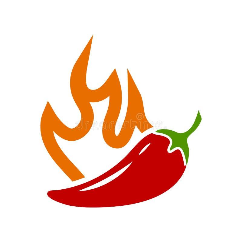 Wektorowy gorący chili pieprz z płomienia majcherem ilustracji