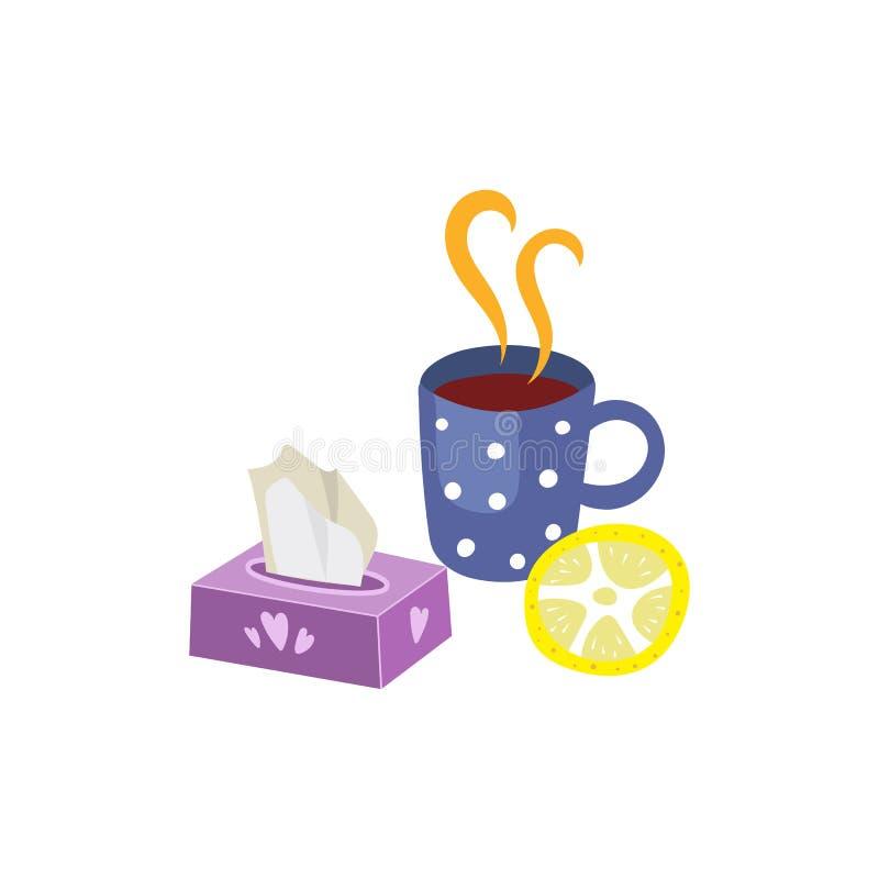 Wektorowy gorący napój z cytryną, pieluchy ustawia odosobnionego ilustracja wektor