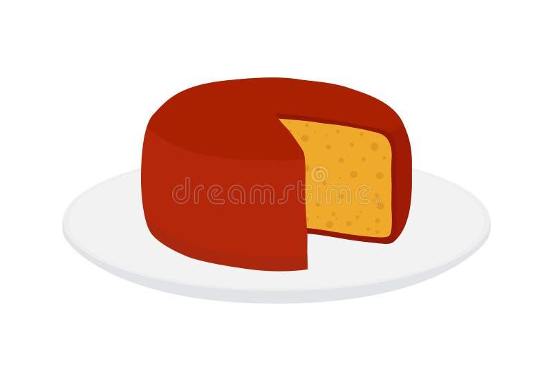 Wektorowy gouda ser na talerzu Plasterek, kawał na porcelany tacy Kreskówki mieszkania styl ilustracja wektor