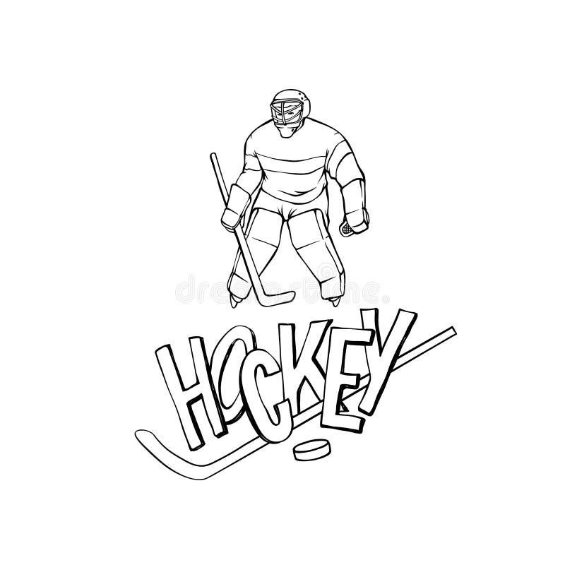 Wektorowy gracz w hokeja bramkarz w sporta mundurze Czarnego białego konturu rocznika ilustracyjny sportowiec i inskrypcja royalty ilustracja