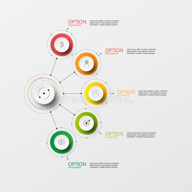 Wektorowy grafika okręgu papieru krok ilustracja wektor