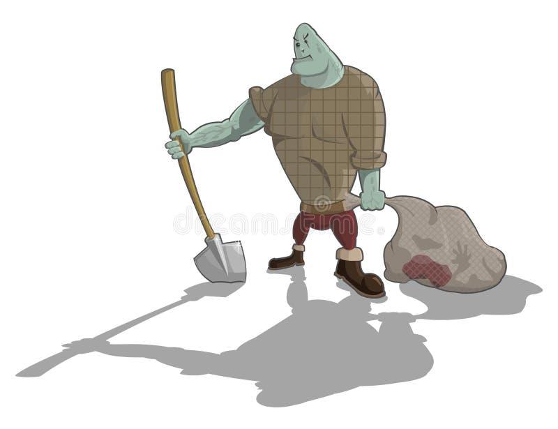 Wektorowy gravedigger z łopatą i workiem ilustracji