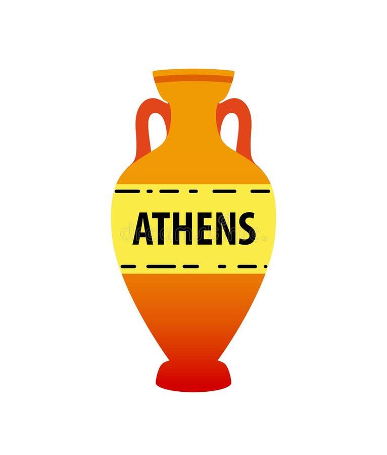 Wektorowy grecki amfora wizerunek odizolowywający na bielu - Kolorowy antyczny earthenware symbol ilustracja wektor