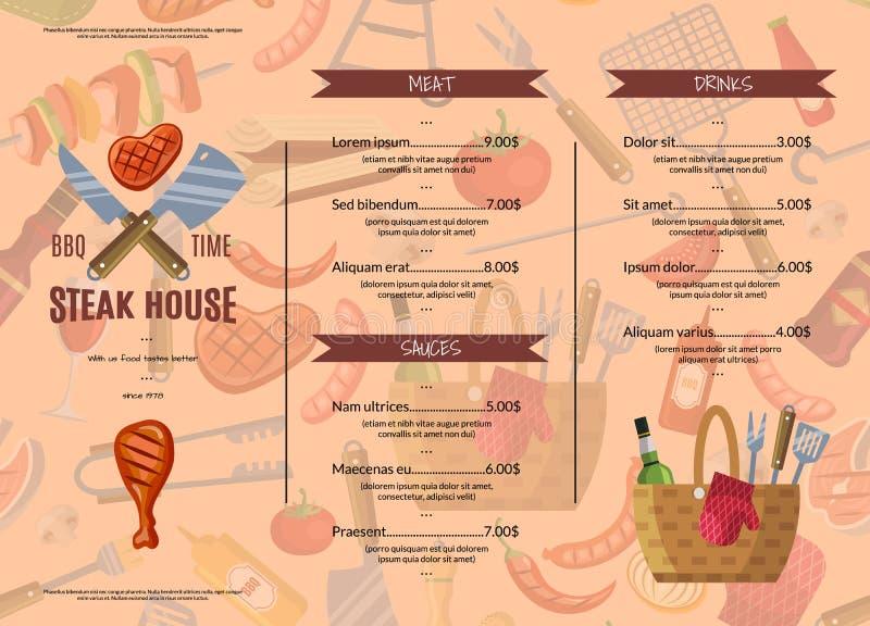 Wektorowy grill, grill lub steakhouse, royalty ilustracja