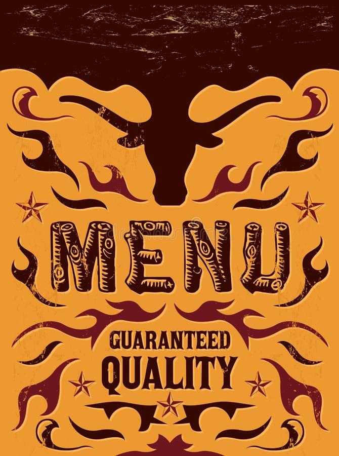 Wektorowy grill restauracyjny menu projekt - stek - royalty ilustracja
