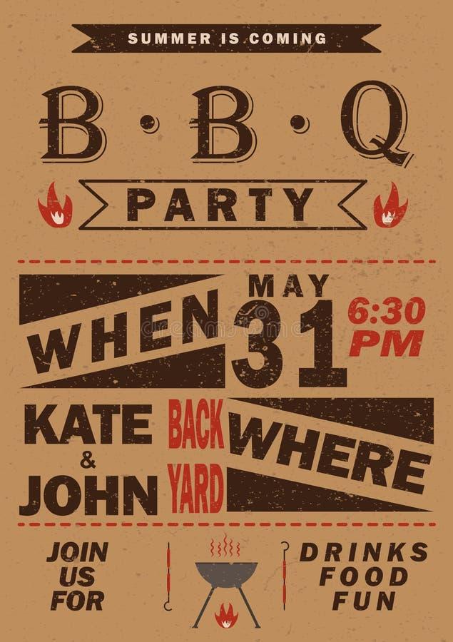 Wektorowy grilla przyjęcia zaproszenie BBQ szablonu menu projekt Karmowa ulotka ilustracja wektor
