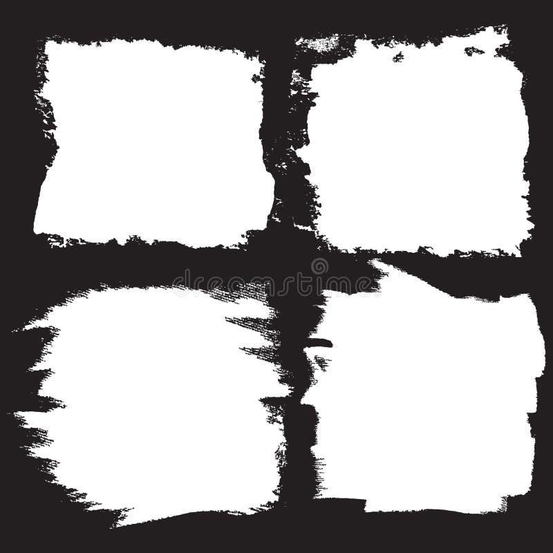 Wektorowy grunge muśnięcie muska tła ustawiających, prostokąt i kwadrat, dla teksta zdjęcie stock