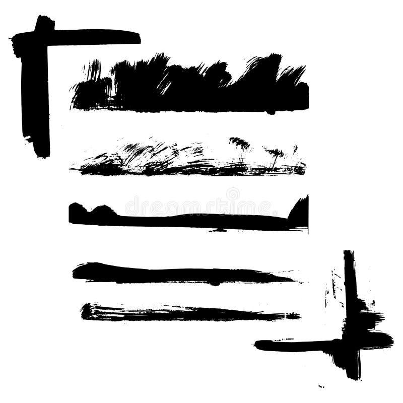 Wektorowy grunge textured granicy i kąt ręka malował dekoracje i abstrakcjonistycznych tytułowych tła royalty ilustracja