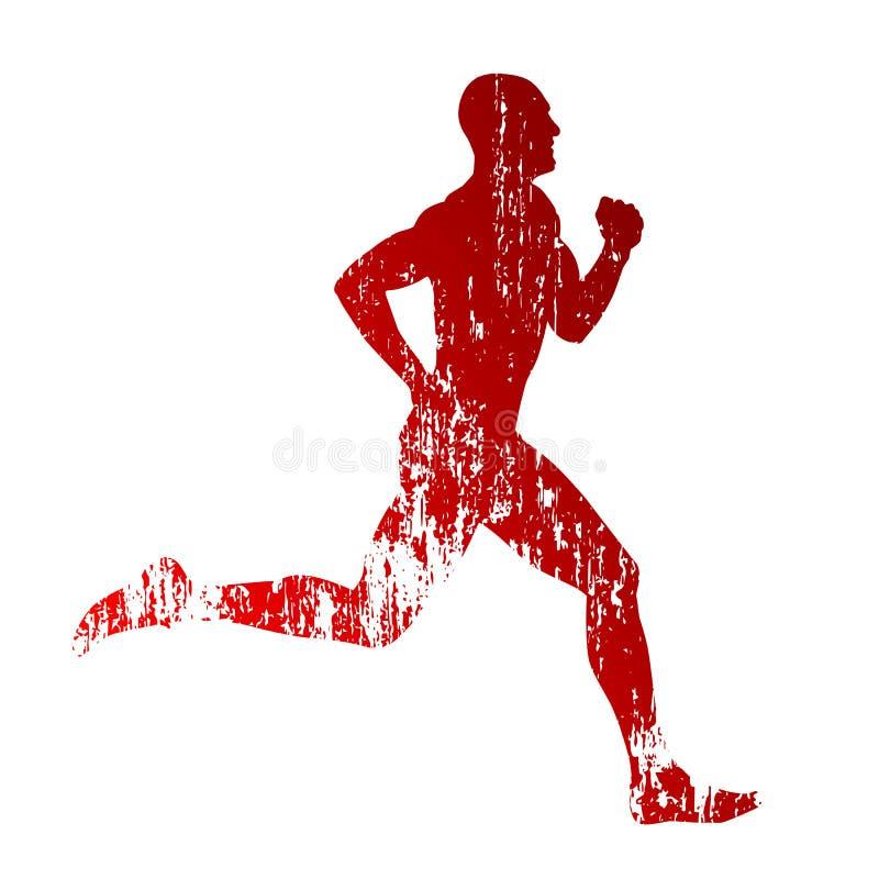 Wektorowy grungy biegacz ilustracja wektor
