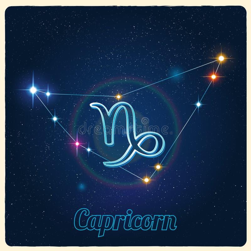 Wektorowy gwiazdozbioru Capricorn z zodiaka znakiem royalty ilustracja