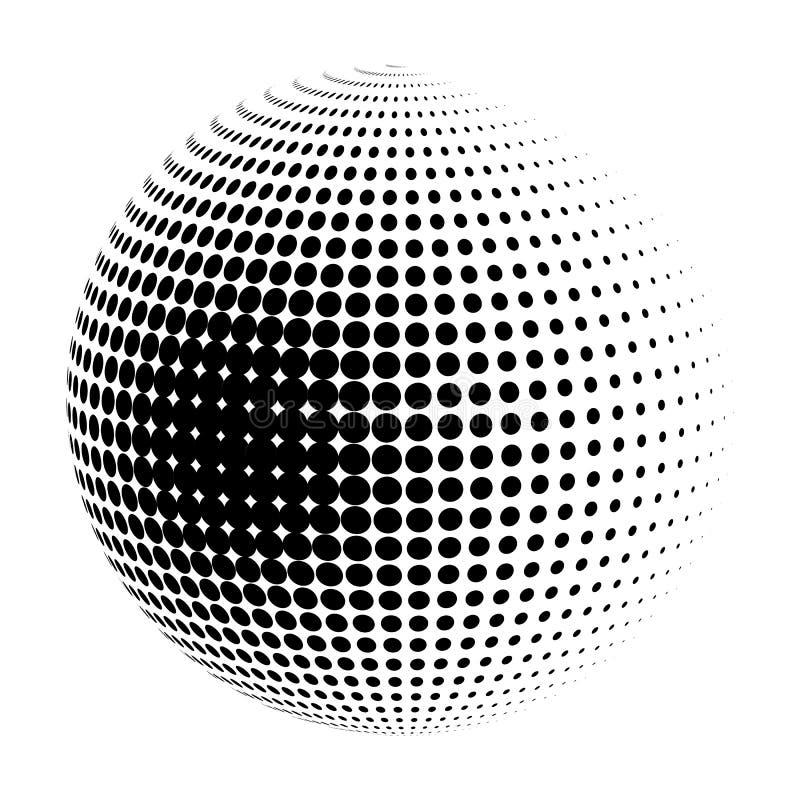 Wektorowy halftone sfery logo ilustracja wektor