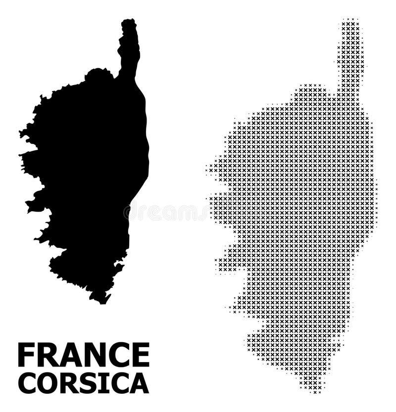 Wektorowy Halftone wzór i Stała mapa Corsica royalty ilustracja