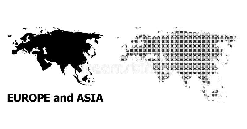 Wektorowy Halftone wzór i Stała mapa Europa i Azja ilustracja wektor