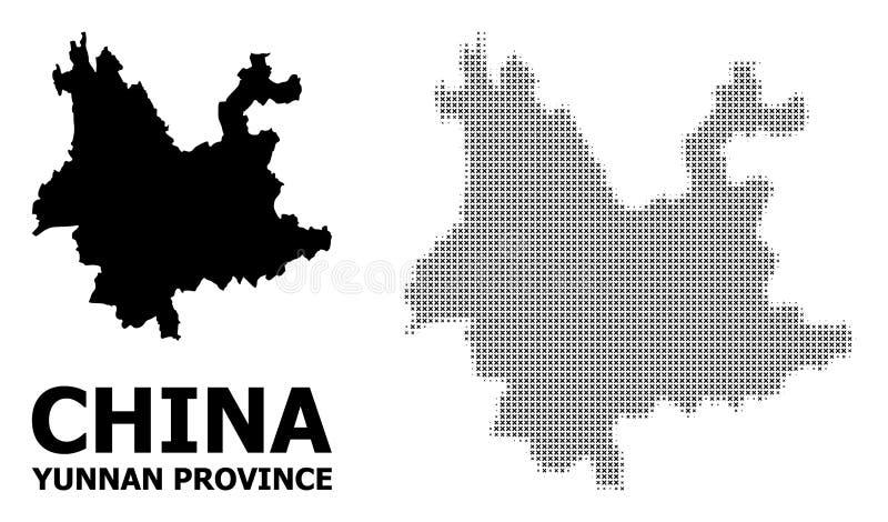 Wektorowy Halftone wzór i Stała mapa Yunnan prowincja royalty ilustracja