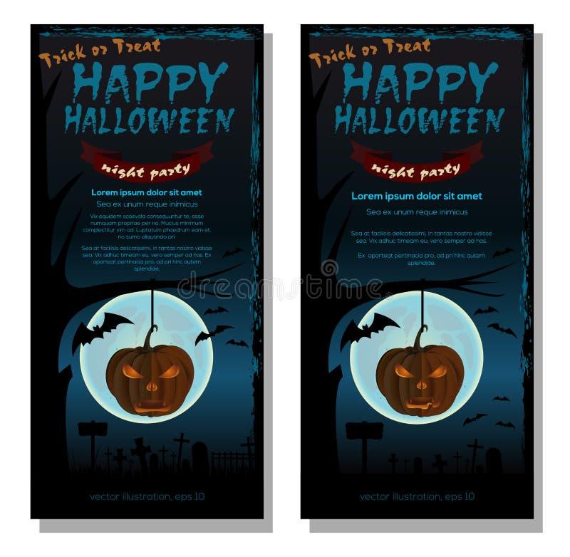 Wektorowy Halloween karty set sztuczka przysmaki ilustracja wektor