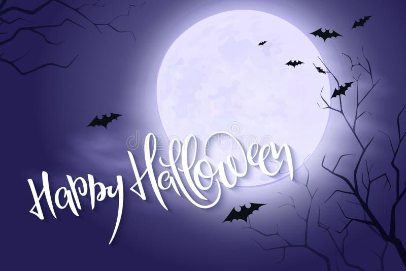Wektorowy Halloween plakat z ręki literowania powitań etykietką na nocnym niebie z księżyc w pełni i chmurami - szczęśliwy Hallow ilustracji
