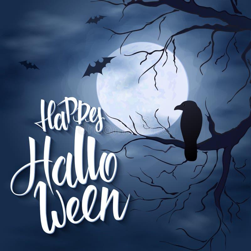 Wektorowy Halloween plakat z ręki literowania powitań etykietką na nocnym niebie z księżyc w pełni i chmurami - szczęśliwy Hallow ilustracja wektor