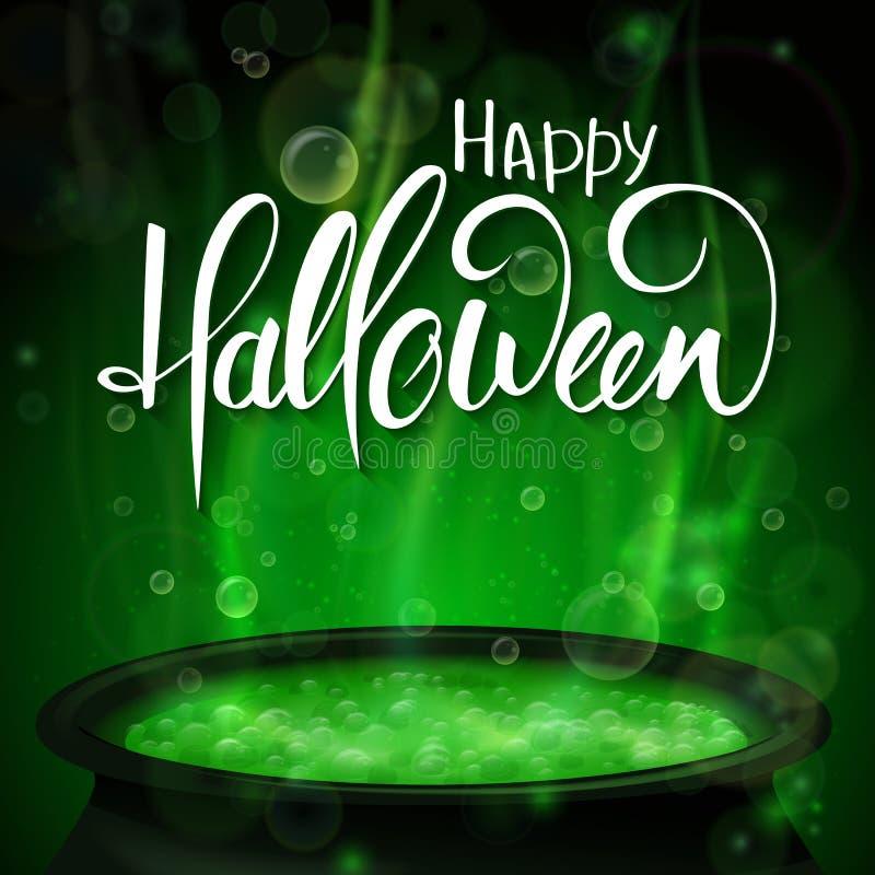 Wektorowy Halloween plakat z ręki literowania powitań etykietką z wrzącym czarownica kotłem - szczęśliwy Halloween - ilustracji