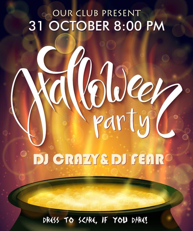 Wektorowy Halloween przyjęcia zaproszenia plakat z ręki literowania etykietką z wrzącym czarownica kotłem dalej - Halloween - ilustracja wektor