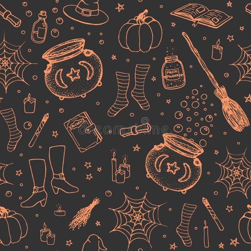 Wektorowy Halloween wzór z ręka rysującą banią, kocioł, pająk sieć, napoje miłośni, magiczne książki, witch's miotły, kapelusz, ilustracja wektor