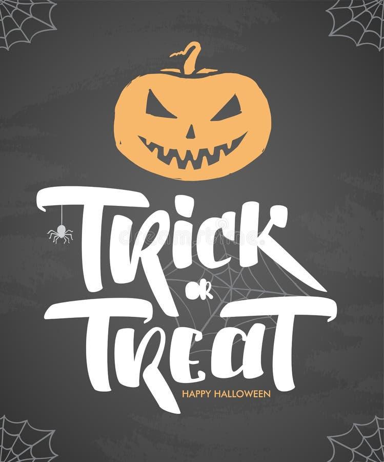 Wektorowy Halloweenowy plakat z ręka rysującym typ Trikowy, funda, bania lub pająk na chalkboard tle, ilustracja wektor