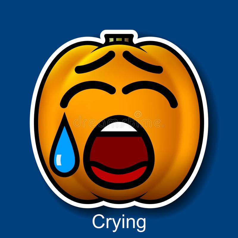 Wektorowy Halloweenowy Smiley płacz ilustracja wektor