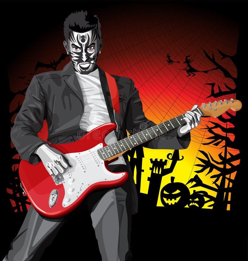 Wektorowy Halloweenowy straszny mężczyzna z gitarą ilustracji
