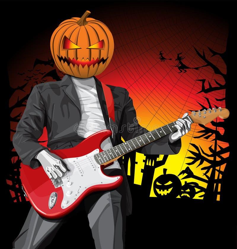 Wektorowy Halloweenowy straszny mężczyzna z gitarą royalty ilustracja
