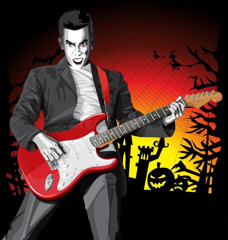 Wektorowy Halloweenowy straszny mężczyzna z gitarą ilustracja wektor