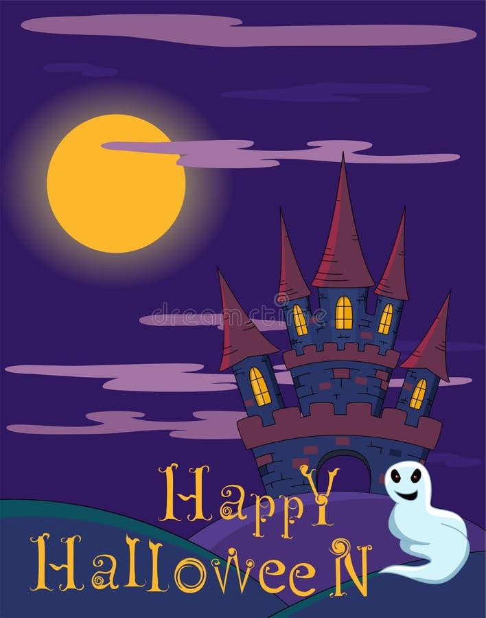 Wektorowy Halloweenowy tło z strasznym kasztelem royalty ilustracja