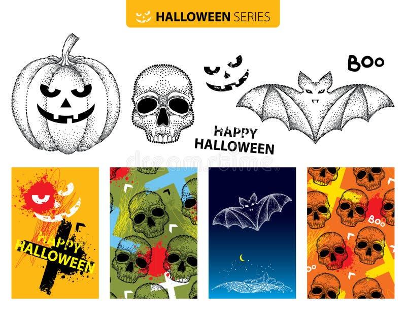 Wektorowy Halloweenowy ustawiający w dotwork stylu Kropkowana czarna czaszka, nietoperz, bania odizolowywająca na białym tle ilustracji