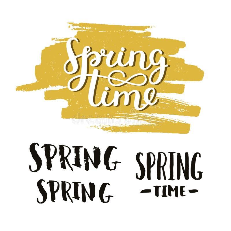 Wektorowy handdrawn literowanie wiosny czas ilustracji