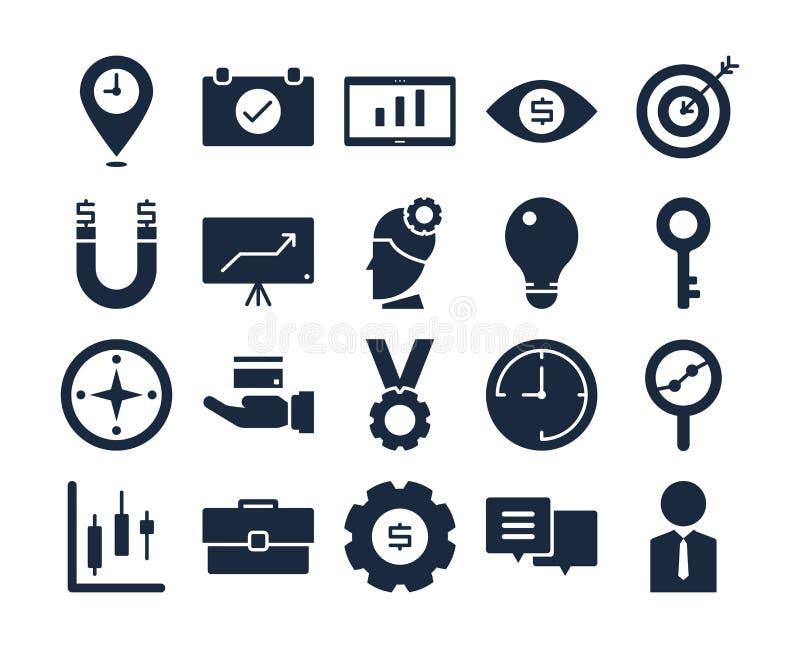 Wektorowy handlu biznes i pieniądze glifu ikony set ilustracji
