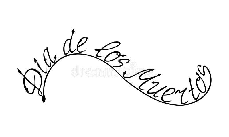 Wektorowy Handritten Literowanie Dia De Los Muertos royalty ilustracja