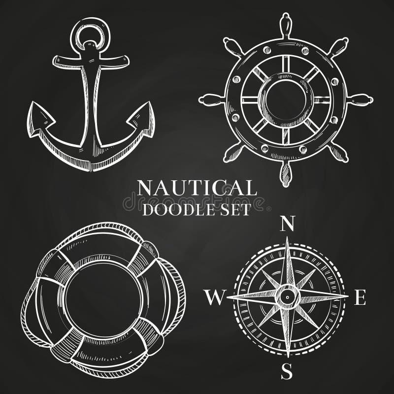 Wektorowy handwheel, kotwica, cyrklowy i lifebuoy ilustracji