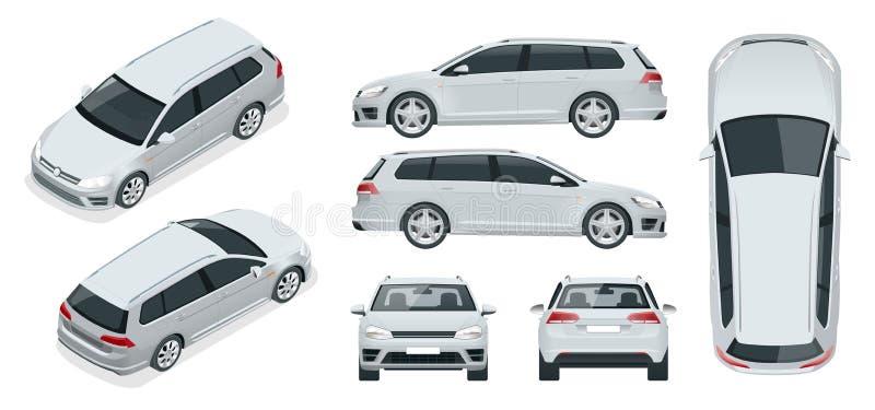 Wektorowy hatchback samochód Ścisły Hybrydowy pojazd royalty ilustracja
