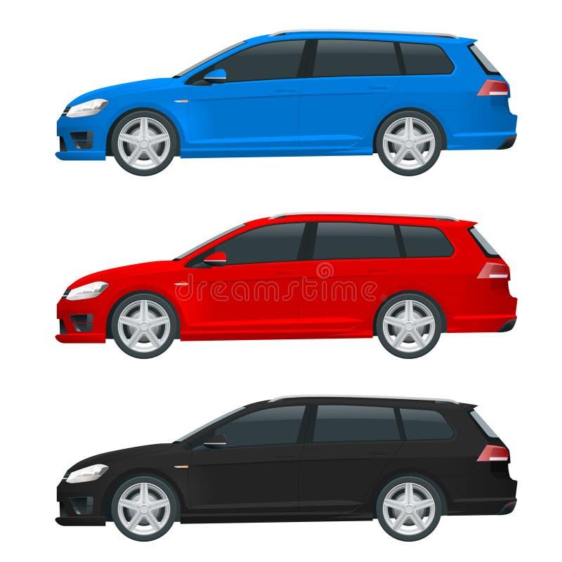 Wektorowy hatchback samochód Ścisły Hybrydowy pojazd ilustracji