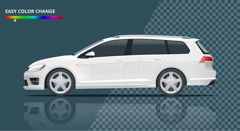 Wektorowy hatchback samochód Ścisły Hybrydowy pojazd ilustracja wektor