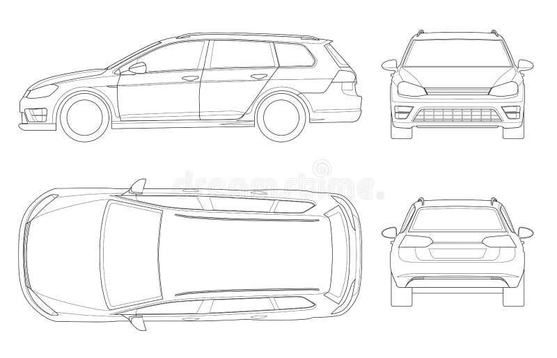 Wektorowy hatchback samochód w konturze Ścisły Hybrydowy pojazd ilustracji