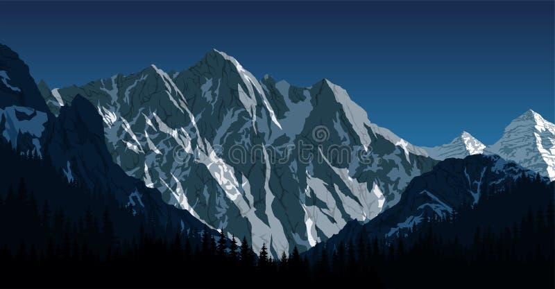 Wektorowy Himalajski góra krajobraz Lhotse - południe twarzy widok od Everest Podstawowego obozu wędrówki ilustracja wektor